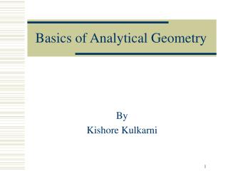 Basics of Analytical Geometry