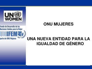 ONU MUJERES  UNA NUEVA ENTIDAD PARA LA IGUALDAD DE GÉNERO