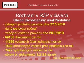 Rozhraní v RŽP v číslech Obecní živnostenský úřad Pardubice