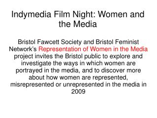 Indymedia Film Night: Women and the Media