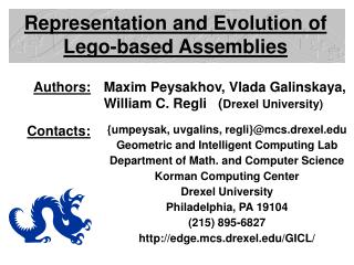 Representation and Evolution of Lego-based Assemblies
