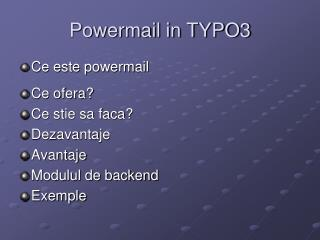 Powermail in TYPO3