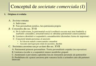 Conceptul de  societate comerciala (I)