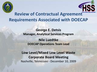 Review of Contractual Agreement Requirements Associated with DOECAP