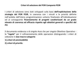 Criteri di selezione del POR Campania FESR