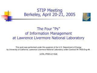 STIP Meeting Berkeley, April 20-21, 2005