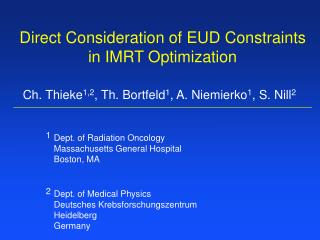 Direct Consideration of EUD Constraints in IMRT Optimization