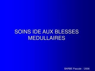 SOINS IDE AUX BLESSES MEDULLAIRES