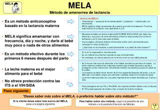 MELA M�todo de amenorrea de lactancia
