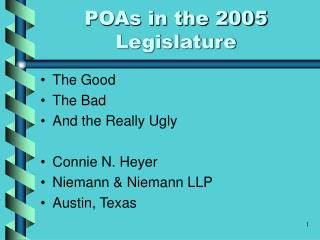 POAs in the 2005 Legislature