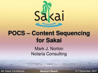 POCS – Content Sequencing for Sakai