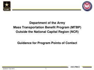 Department of the Army Mass Transportation Benefit Program (MTBP)