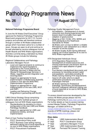 Pathology Programme News No. 26 1 st  August 2011