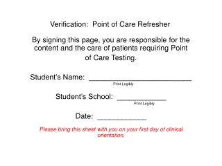 Verification:  Point of Care Refresher