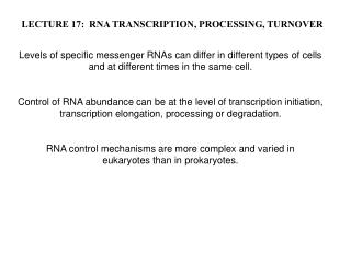 LECTURE 17:  RNA TRANSCRIPTION, PROCESSING, TURNOVER