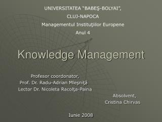 Knowledge  M anagement
