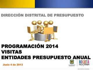 PROGRAMACIÓN 2014 VISITAS ENTIDADES PRESUPUESTO ANUAL