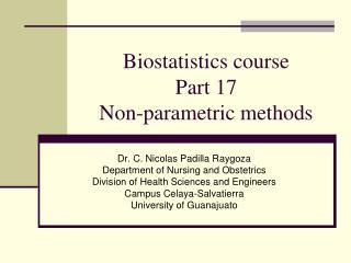 Biostatistics course Part 17 Non-parametric methods