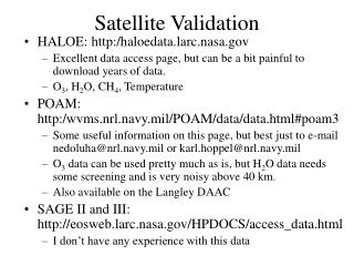 Satellite Validation