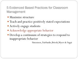 5 Evidenced Based Practices for Classroom Management