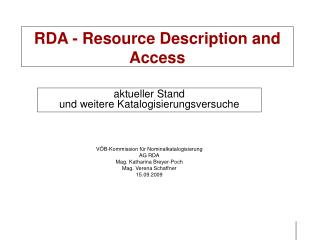 RDA - Resource Description and Access