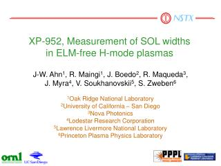 XP-952, Measurement of SOL widths  in ELM-free H-mode plasmas