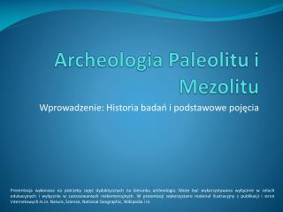 Archeologia Paleolitu i Mezolitu
