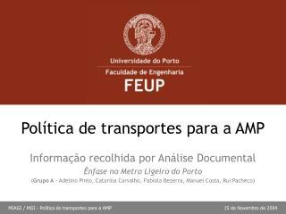Política de transportes para a AMP