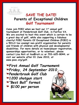 SAVE THE DATE! Parents of Exceptional Children Golf Tournament