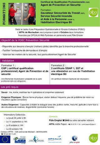 Certificat de Qualification Professionnelle  (CQP) Agent de Prévention en Sécurité Formation :