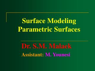 Surface Modeling Parametric Surfaces