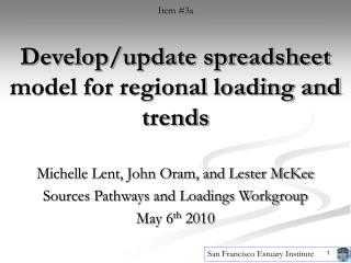 Develop/update spreadsheet model for regional loading and trends