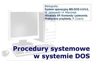 Procedury systemowe w systemie DOS