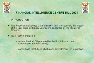 FINANCIAL INTELLIGENCE CENTRE BILL 2001