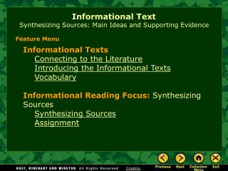 Informational Text Synthesizing Sources: Main Ideas and Supporting Evidence