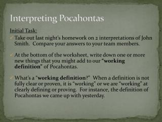 Interpreting Pocahontas