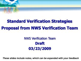 Standard Verification Strategies Proposal from NWS Verification Team
