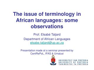 The issue of terminology in African languages: some observations
