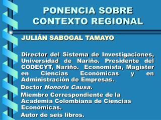 PONENCIA SOBRE CONTEXTO REGIONAL