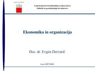 Ekonomika in organizacija