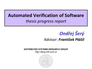 Automated Verification of Software thesis progress report