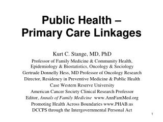 Public Health –     Primary Care Linkages