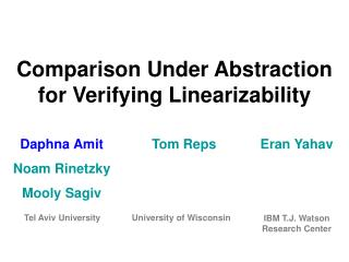 Comparison Under Abstraction for Verifying Linearizability
