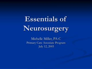 Essentials of Neurosurgery