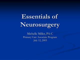 Essentials of Neurosurgery