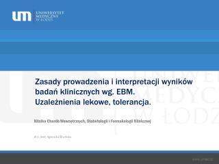 Klinika Chorób Wewnętrznych, Diabetologii i Farmakologii Klinicznej