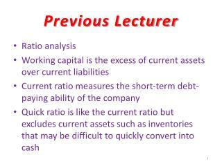 Previous Lecturer