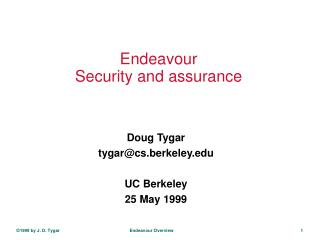 Endeavour Security and assurance
