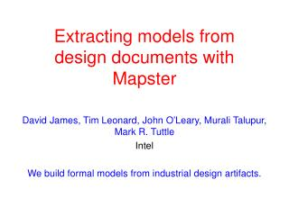 Extracting models from  design documents with  Mapster
