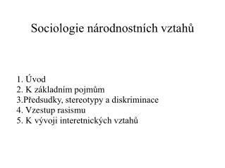 Sociologie národnostních vztahů